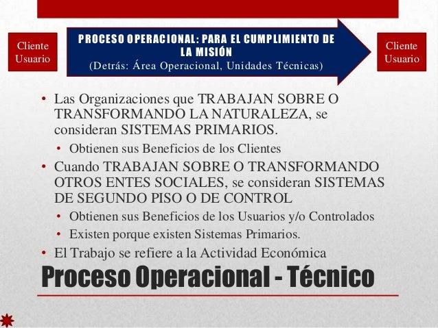 Cliente Usuario  PROCESO OPERACIONAL: PARA EL CUMPLIMIENTO DE L A MISIÓN (Detrás: Área Operacional, Unidades Técnicas)  Cl...