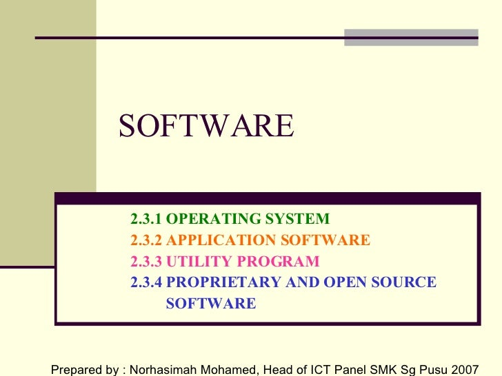 SOFTWARE <ul><ul><ul><li>2.3.1 OPERATING SYSTEM </li></ul></ul></ul><ul><ul><ul><li>2.3.2 APPLICATION SOFTWARE </li></ul><...