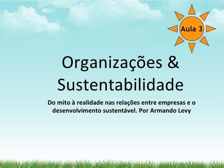 Aula 3       Organizações &    Sustentabilidade Do mito à realidade nas relações entre empresas e o  desenvolvimento suste...