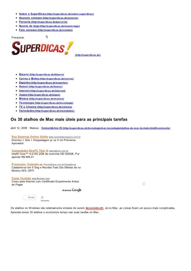 Sobre o SuperDicas (http://superdicas.de/sobre-superdicas)      Anuncie conosco (http://superdicas.de/anuncie)      Parcer...