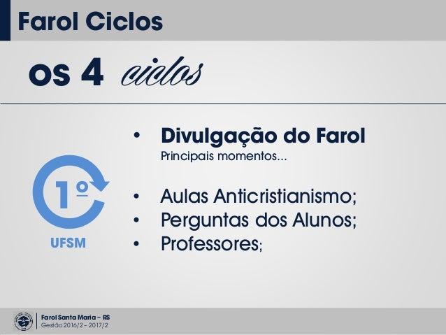 Farol Santa Maria – RS Gestão 2016/2 – 2017/2 Farol Ciclos os 4 ciclos • Divulgação do Farol Principais momentos... 1º UFS...