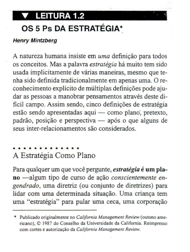 .•.    LEITURA 1.2                                             .    ..    OS 5 Ps DA ESTRATEGIA~A natureza human a insiste...
