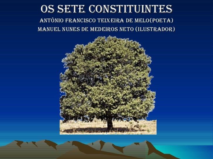 Os sete constituintes Antônio Francisco teixeira de melo(poeta) Manuel Nunes de Medeiros Neto (Ilustrador)