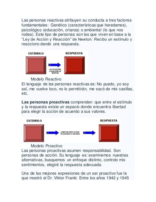 Las personas reactivas atribuyen su conducta a tres factores fundamentales: Genético (características que heredamos), psic...