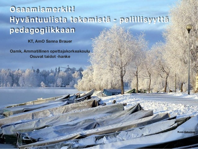 KT, AmO Sanna Brauer Oamk, Ammatillinen opettajakorkeakoulu Osuvat taidot -hanke Osaamismerkit !  Hyväntuulista tekemistä ...