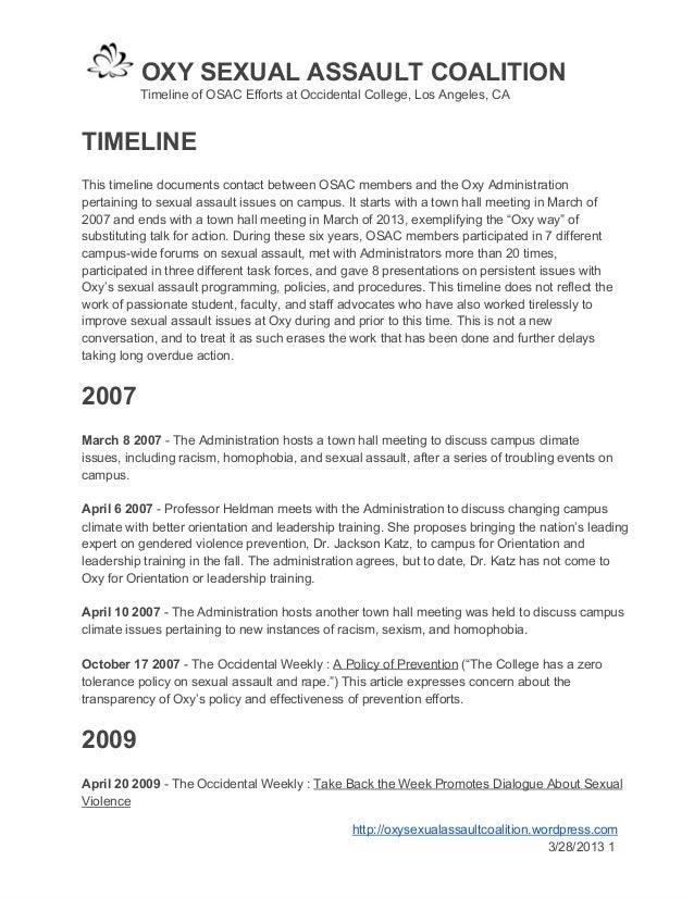 OXYSEXUALASSAULTCOALITION       TimelineofOSACEffortsatOccidentalCollege,LosAngeles,CATIMELINEThistimeli...