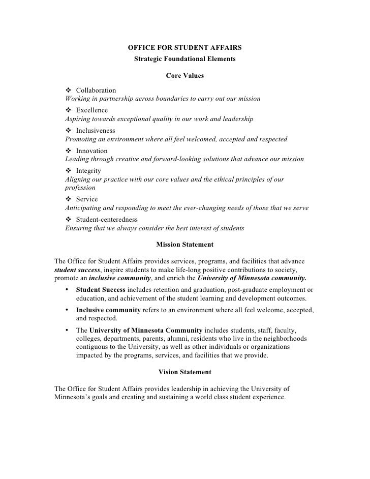 OFFICE FOR STUDENT AFFAIRS                            Strategic Foundational Elements                                     ...