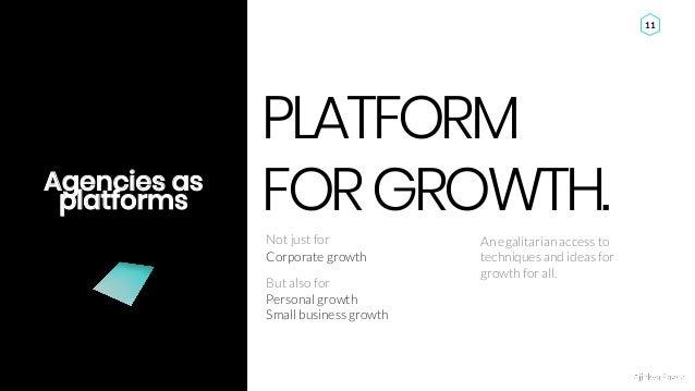 Ajinkya Pawar 11 Agencies as platforms PLATFORM FORGROWTH. Personal growth Small business growth Corporate growth Not just...