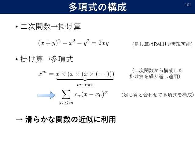 多項式の構成 • 二次関数→掛け算 • 掛け算→多項式 → 滑らかな関数の近似に利用 101 (足し算はReLUで実現可能) (二次関数から構成した 掛け算を繰り返し適用) (足し算と合わせて多項式を構成)