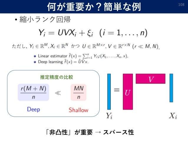 何が重要か?簡単な例 • 縮小ランク回帰 108 ただし, かつ . 「非凸性」が重要 → スパース性 推定精度の比較