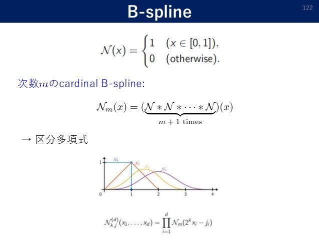 B-spline 122 次数 のcardinal B-spline: → 区分多項式