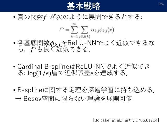 基本戦略 • 真の関数𝑓∘ が次のように展開できるとする: • 各基底関数𝜙 𝑘,𝑗をReLU-NNでよく近似できるな ら,𝑓∘も良く近似できる. • Cardinal B-splineはReLU-NNでよく近似でき る: log(1/𝜖)層で...