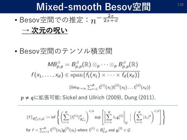 Mixed-smooth Besov空間 • Besov空間での推定: → 次元の呪い • Besov空間のテンソル積空間 138 𝑝 ≠ 𝑞に拡張可能: Sickel and Ullrich (2009), Dung (2011).
