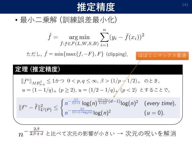 推定精度 • 最小二乗解 (訓練誤差最小化) 141 ただし, (clipping). かつ のとき, とすることで, 定理 (推定精度) と比べて次元の影響が小さい → 次元の呪いを解消 ほぼミニマックス最適