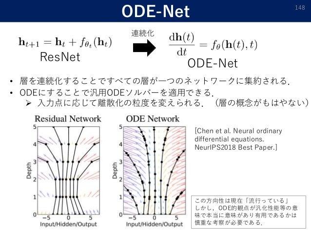 ODE-Net 148 ResNet ODE-Net 連続化 • 層を連続化することですべての層が一つのネットワークに集約される. • ODEにすることで汎用ODEソルバーを適用できる.  入力点に応じて離散化の粒度を変えられる.(層の概念が...