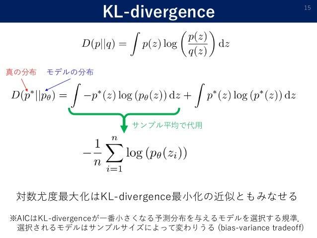 KL-divergence 15 真の分布 モデルの分布 サンプル平均で代用 対数尤度最大化はKL-divergence最小化の近似ともみなせる ※AICはKL-divergenceが一番小さくなる予測分布を与えるモデルを選択する規準. 選択さ...
