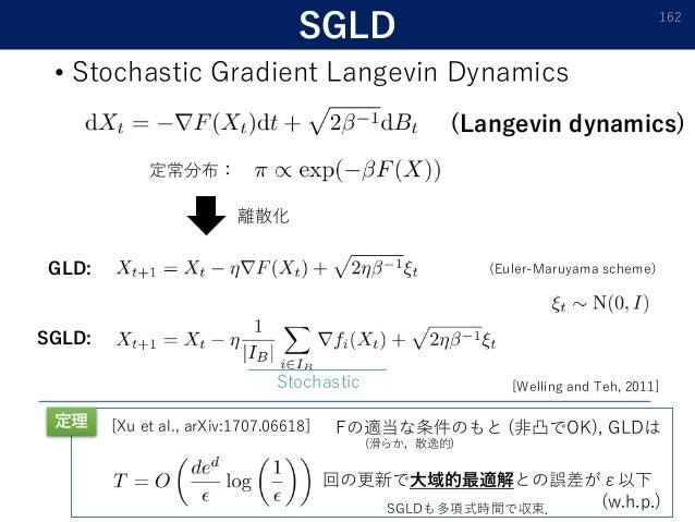 SGLD • Stochastic Gradient Langevin Dynamics 162 GLD: SGLD: Stochastic 離散化 定常分布: 回の更新で大域的最適解との誤差がε以下 (w.h.p.) [Xu et al., ...