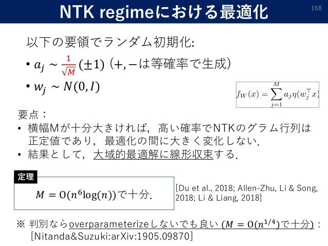 NTK regimeにおける最適化 以下の要領でランダム初期化: • 𝑎𝑗 ∼ 1 𝑀 (±1) (+, −は等確率で生成) • 𝑤𝑗 ∼ 𝑁(0, 𝐼) 168 要点: • 横幅Mが十分大きければ,高い確率でNTKのグラム行列は 正定値であり...