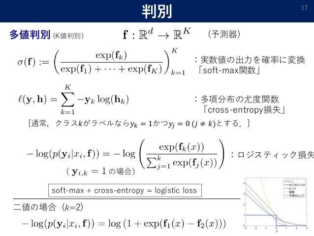 ( の場合) 判別 17 多値判別 (K値判別) :実数値の出力を確率に変換 「soft-max関数」 :多項分布の尤度関数 「cross-entropy損失」 [通常,クラス𝑘がラベルなら𝑦 𝑘 = 1かつ𝑦𝑗 = 0 (𝑗 ≠ 𝑘)とする....