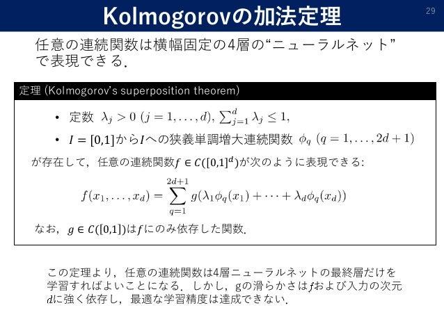 """• 定数 • 𝐼 = [0,1]から𝐼への狭義単調増大連続関数 Kolmogorovの加法定理 任意の連続関数は横幅固定の4層の""""ニューラルネット"""" で表現できる. 29 が存在して,任意の連続関数𝑓 ∈ 𝐶( 0,1 𝑑 )が次のように表現で..."""
