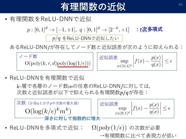 有理関数の近似 • 有理関数をReLU-DNNで近似 40 : r次多項式 あるReLU-DNN が存在してノード数と近似誤差が次のように抑えられる: ノード数 近似誤差 をReLU-DNNで近似したい • ReLU-DNNを有理関数で近似 -...