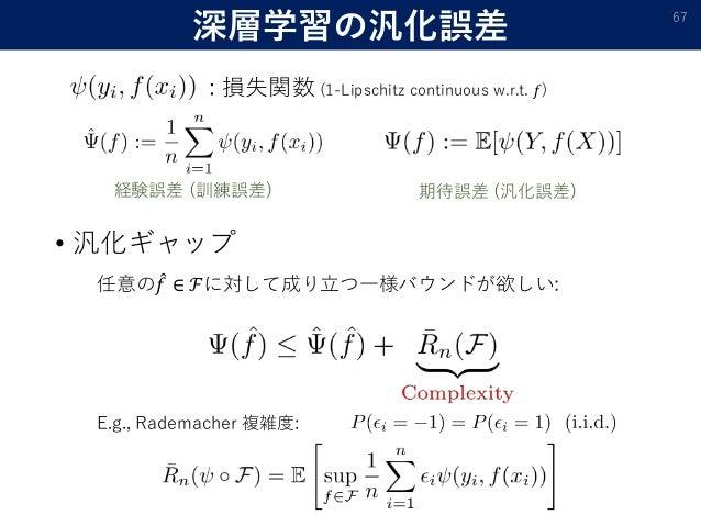 深層学習の汎化誤差 • 汎化ギャップ 67 : 損失関数 (1-Lipschitz continuous w.r.t. 𝑓) 経験誤差 (訓練誤差) 期待誤差 (汎化誤差) 任意の 𝑓 ∈ ℱに対して成り立つ一様バウンドが欲しい: E.g., ...