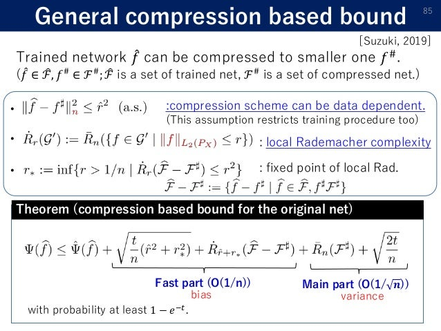 General compression based bound 85 with probability at least 1 − 𝑒−𝑡 . : local Rademacher complexity : fixed point of loca...