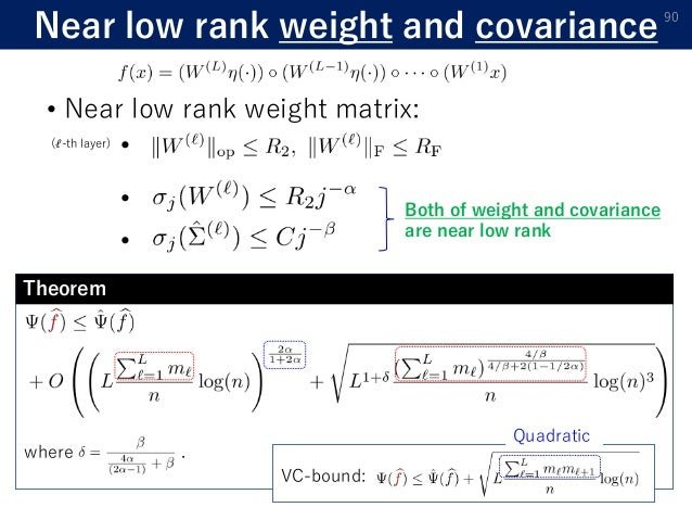 Near low rank weight and covariance 90 • Near low rank weight matrix: • • Both of weight and covariance are near low rank ...