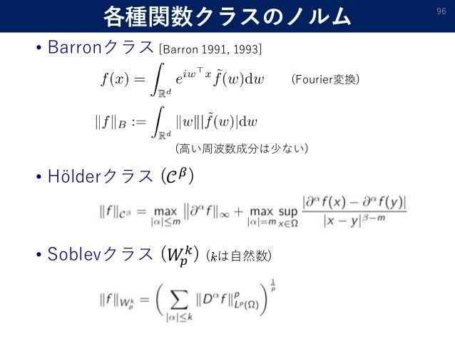 各種関数クラスのノルム • Barronクラス [Barron 1991, 1993] 96 (Fourier変換) • Hölderクラス (𝒞 𝛽) • Soblevクラス (𝑊𝑝 𝑘) ( は自然数) (高い周波数成分は少ない)