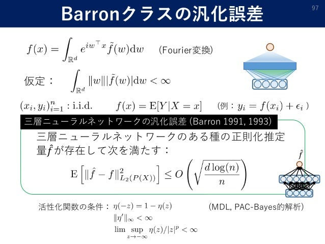 Barronクラスの汎化誤差 97 仮定: (Fourier変換) 三層ニューラルネットワークのある種の正則化推定 量 𝑓が存在して次を満たす: 三層ニューラルネットワークの汎化誤差 (Barron 1991, 1993) 𝑓 活性化関数の条件...