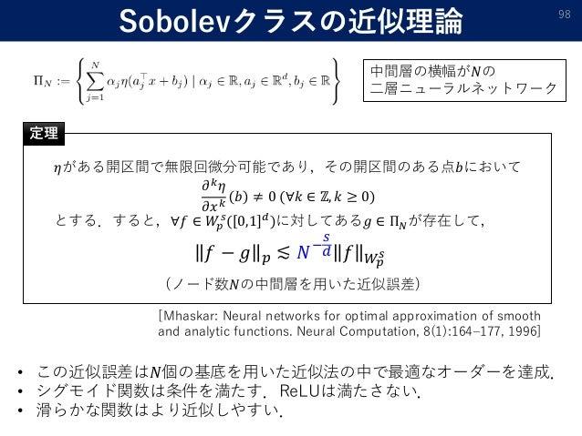 Sobolevクラスの近似理論 98 𝜂がある開区間で無限回微分可能であり,その開区間のある点𝑏において 𝜕 𝑘 𝜂 𝜕𝑥 𝑘 𝑏 ≠ 0 (∀𝑘 ∈ ℤ, 𝑘 ≥ 0) とする.すると,∀𝑓 ∈ 𝑊𝑝 𝑠 ( 0,1 𝑑 )に対してある𝑔 ∈...