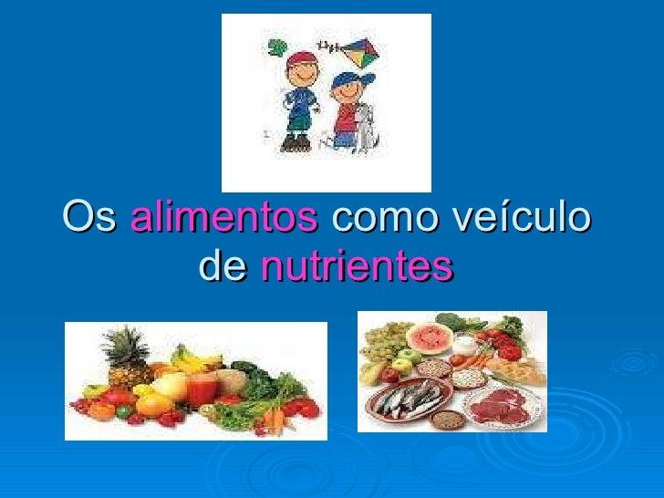 Os  alimentos  como veículo de  nutrientes
