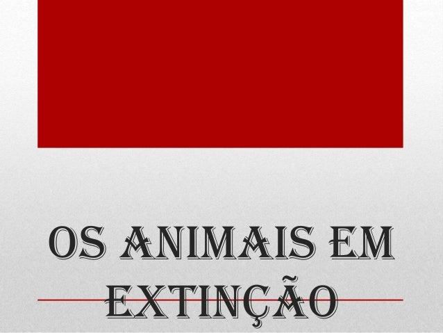 OS ANIMAIS EM EXTINÇÃO