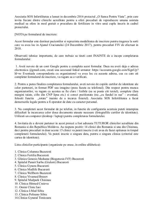 """Asociatia SOS Infertilitatea a lansat in decembrie 2016 proiectul """"O Sansa Pentru Viata"""", prin care invita fiecare dintre ..."""