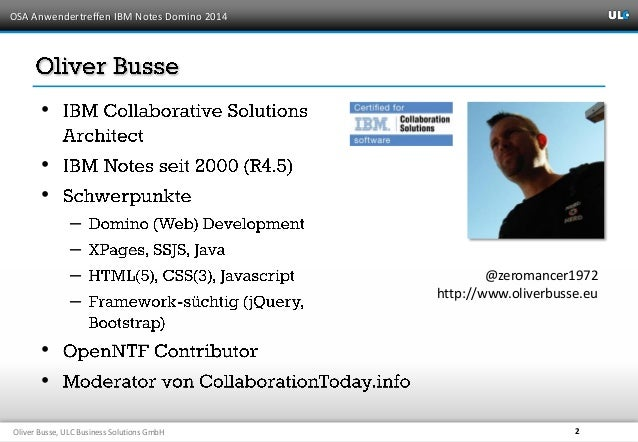 """OSA Anwendertreffen 2014 - """"Clients ausgedünnt: Notes-/Domino-Anwendungenwebfähig machen"""" Slide 2"""
