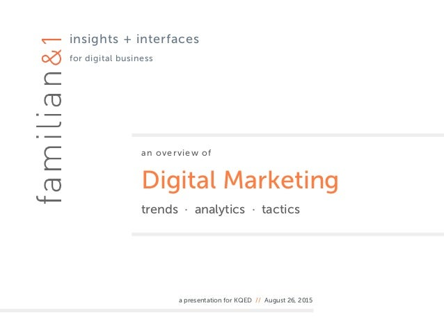 an overview of Digital Marketing trends · analytics · tactics a presentation for KQED // August 26, 2015 insights + interf...
