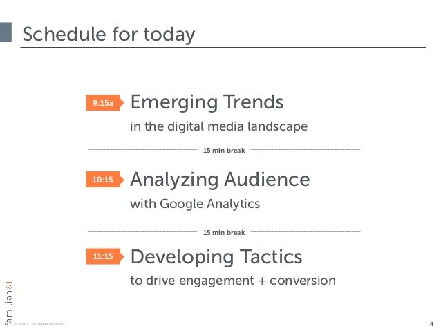© 2015 · all rights reserved ‣ Emerging Trends in the digital media landscape ‣ Analyzing Audience with Google Analytics...