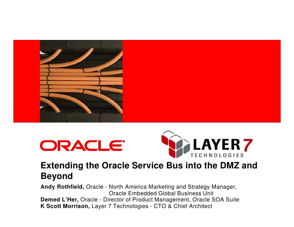 <Insert Picture Here>     Extending the Oracle Service Bus into the DMZ and Beyond Andy Rothfield, Oracle - North America ...