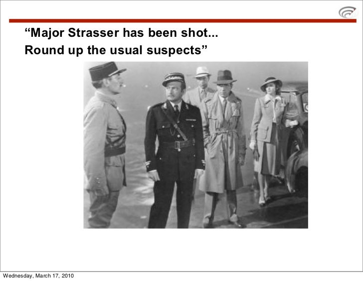 """""""Major Strasser has been shot...        Round up the usual suspects""""     Wednesday, March 17, 2010"""