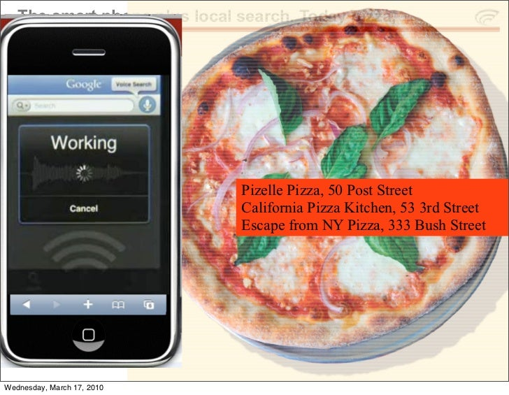 The smart phone plus local search. Today pizza,                                   Pizelle Pizza, 50 Post Street           ...