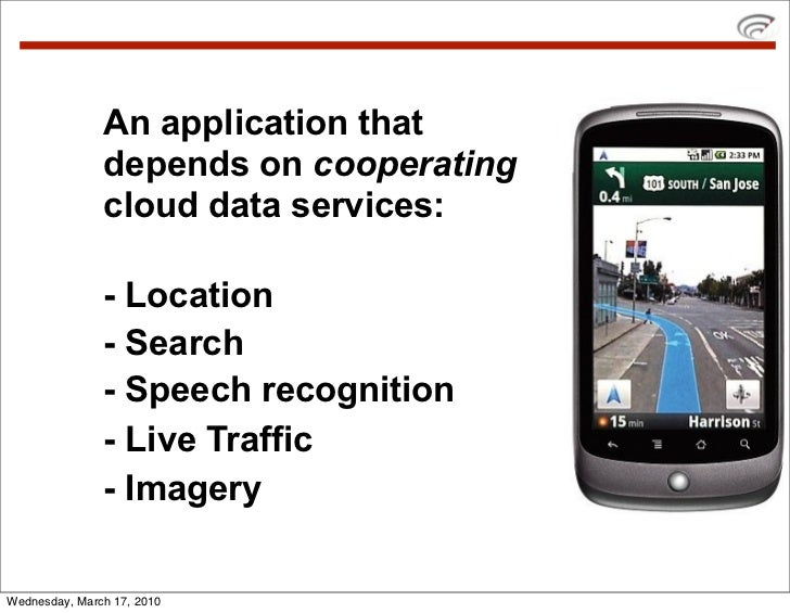 An application that                depends on cooperating                cloud data services:                 - Location  ...