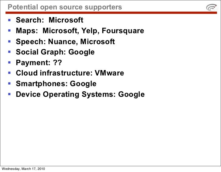 Potential open source supporters        Search: Microsoft        Maps: Microsoft, Yelp, Foursquare        Speech: Nuanc...