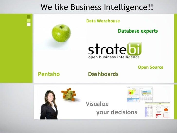 We like Business Intelligence!!            Data Warehouse                         Database experts                        ...