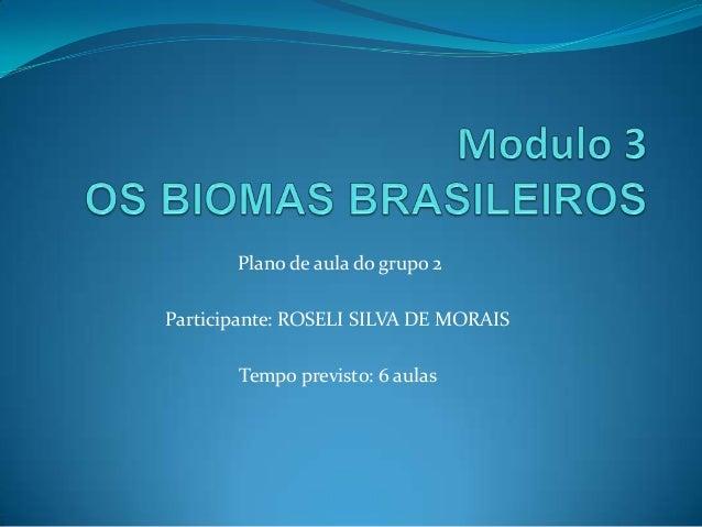 Plano de aula do grupo 2 Participante: ROSELI SILVA DE MORAIS Tempo previsto: 6 aulas