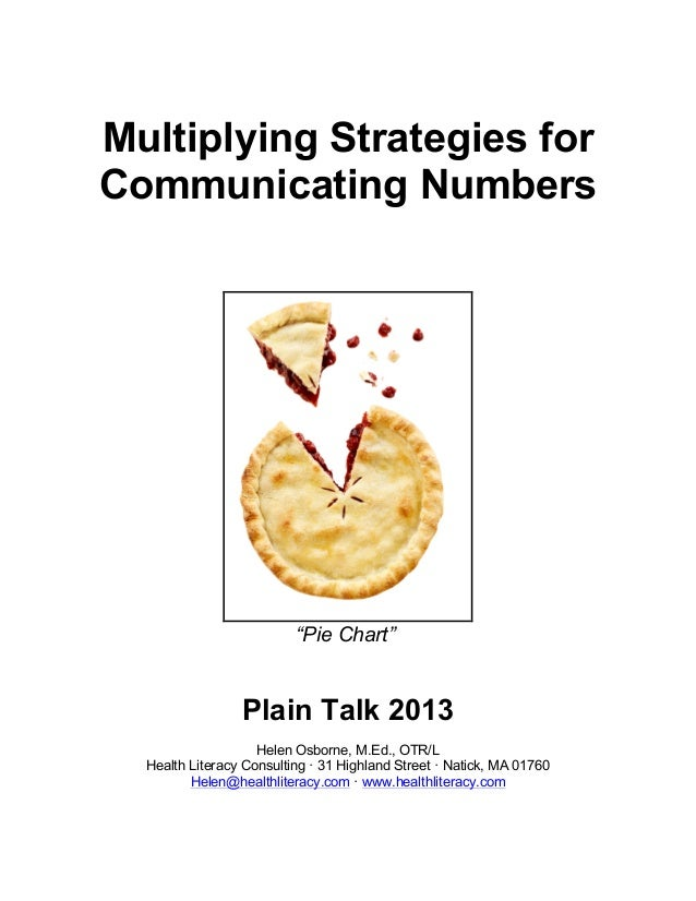"Multiplying Strategies for Communicating Numbers ""Pie Chart"" Plain Talk 2013 Helen Osborne, M.Ed., OTR/L Health Literacy C..."