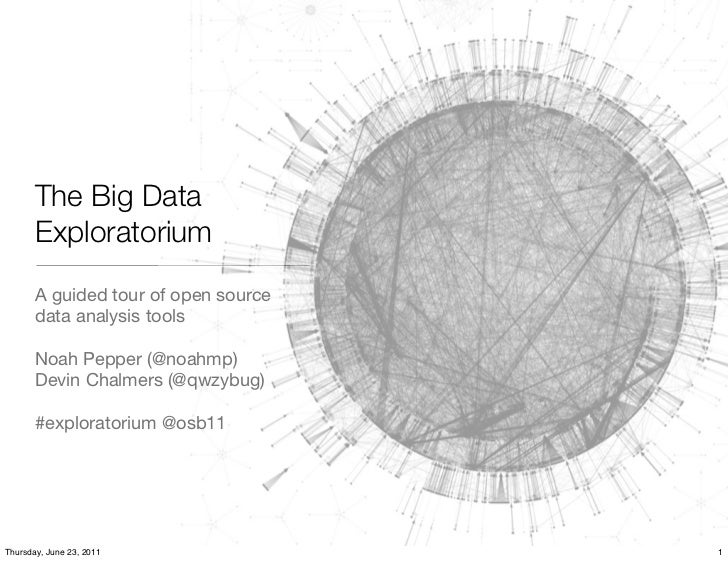 The Big Data       Exploratorium       A guided tour of open source       data analysis tools       Noah Pepper (@noahmp) ...