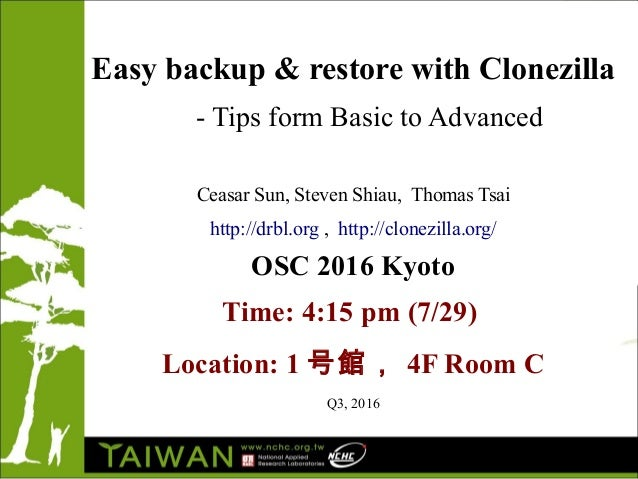 Easy backup & restore with Clonezilla - Tips form Basic to