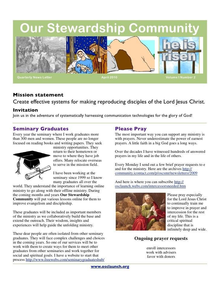 Our Stewardship Community     Quarterly News Letter                                    April 2010                         ...