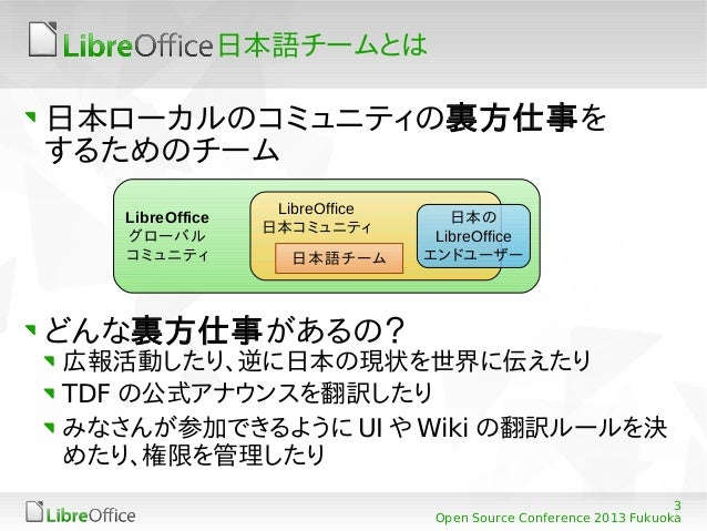 LibreOfficeの最新動向 - コミュニティとプロダクトの面から - / Current status of LibreOffice - Community side and Product side - Slide 3