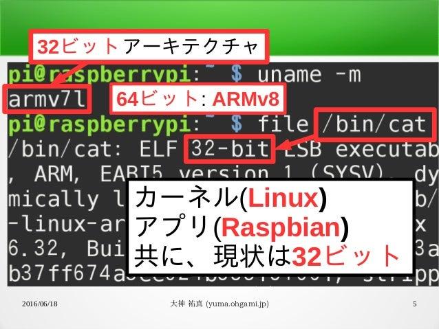 2016/06/18 大神 祐真 (yuma.ohgami.jp) 5 カーネル(Linux) アプリ(Raspbian) 共に、現状は32ビット 64ビット: ARMv8 32ビットアーキテクチャ